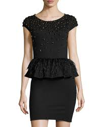 alice olivia luma bead u0026 feather peplum dress black