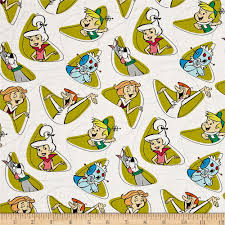 the jetsons the jetsons characters shapes white discount designer fabric