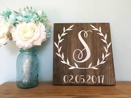 wreath vine monogram sign initial sign last name sign