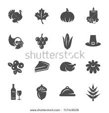 thanksgiving icons stock vector 717419026