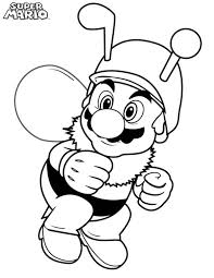 super mario brothers wearing bee costume coloring page color luna