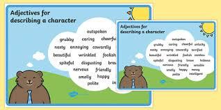 adjectives for describing a character poster descriptive words