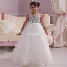 white ball gown flower dresses beading crystals open back