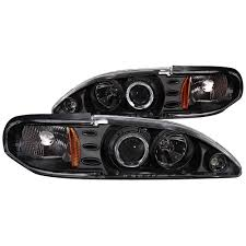 Black 98 Mustang Mustang Headlight Kit One Piece Projector Halo Black 1994 1998