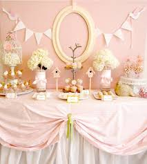 pink birdie baby shower guest feature dessert table table
