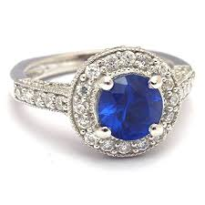 zirconia stone rings images Blue sapphire and diamond cubic zirconia engagement ring jpg