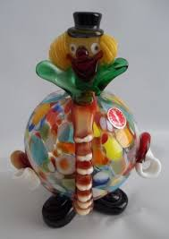 vintage big belly colorful murano glass clown figurine italy