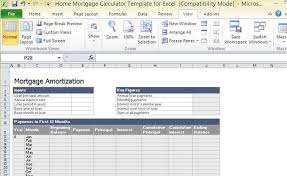 Excel Template Loan Amortization Home Mortgage Calculator Template For Excel
