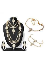 white colour necklace images Kundan party wear necklace set in white colour jpg