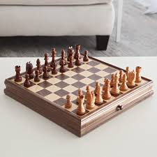 Unique Chess Set Classic Walnut Chess And Checker Set Hayneedle
