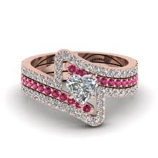black and pink wedding ring sets purchase our heart trio wedding ring sets at affordable prices