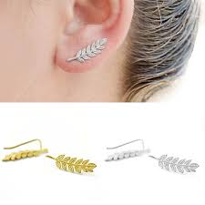 ear pin earrings rock leaves leaf sideways curved stick bar ear crawler sweep
