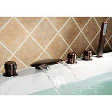 Waterfall Faucet Bathroom Deck Mounted Oil Rubbed Bronze 5 Hole Roman Tub Waterfall Faucet
