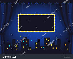 Blue Curtains Vintage Stage Dark Blue Curtains Marquee Stock Vector 568342624