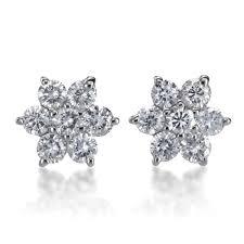 flower stud earrings summerrose 14k white gold 1 2ct tdw diamond flower stud earrings
