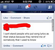 How To Put Memes On Facebook Comments - song lyrics in a facebook status