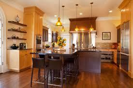 kitchen dark brown stain wooden kitchen island with black leather