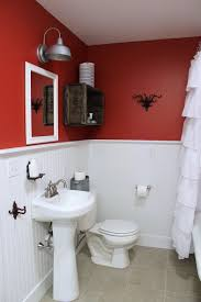 excellent two tone white and red bathroom themes added white