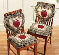 set of 2 2pc country plaid apple kitchen chair cushions