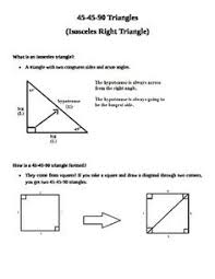 right triangles special right tris notes practice task cards