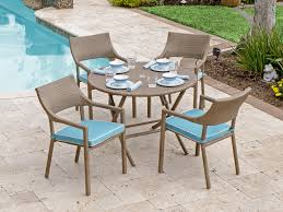 resin folding table and chairs fiji 5 pc aluminum resin wicker dining set with 42 round folding