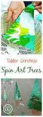 easy christmas spin art trees for toddlers bulletin board