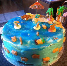 beach cake used graham cracker crumbs for sand and wilton clear