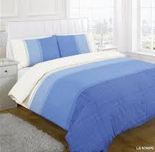 la stripe blue printed duvet cover set