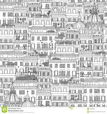 hand drawn seamless pattern of italian style houses stock vector
