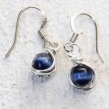 navy blue earrings casual wear navy blue drop earrings handmade wire