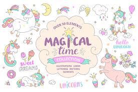 magical time unicorns illustrations creative market
