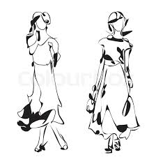 fashion model sketch cartoon woman in the dress stock