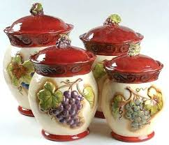 wine kitchen canisters grape kitchen canisters grape ceramic 4 kitchen canister set