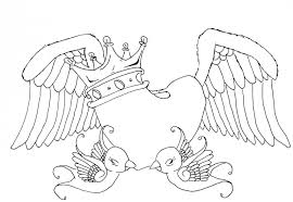 heart wings coloring pages crown birds coloringstar
