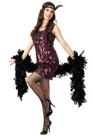 1920s Halloween Costume Tear Drop Plum Flapper Costume
