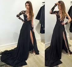 formal dress black lace long sleeve long prom dress formal