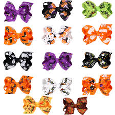 50pcs halloween carnival hair bows clip boo spook hair tie