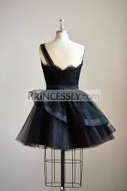 one shoulder black lace tulle short knee prom dress cocktail party