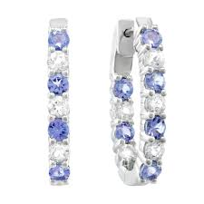 white topaz earrings tanzanite and white topaz sterling silver inside out oval hoop
