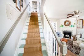 kentucky haze paint staircase farmhouse with downrod ceiling fans