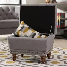 Grey Fabric Storage Ottoman Baxton Studio Annabelle Traditional Gray Fabric Upholstered