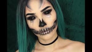 half face halloween makeup ideas glam glitter skull halloween makeup tutorial youtube