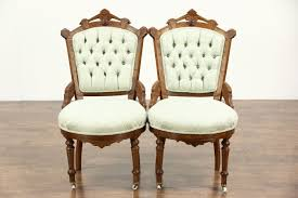 victorian eastlake antique set of 4 walnut game breakfast or parlor chairs