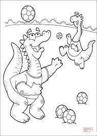 dragons playing soccer coloring free printable coloring