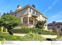 luxury house exterior with landscape design stock photo image