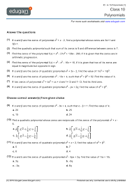 class 10 math worksheets and problems polynomials edugain india