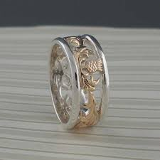 silver scottish thistle wedding ring
