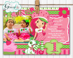 Sample 1st Birthday Invitation Card Strawberry Shortcake Birthday Invitations Kawaiitheo Com