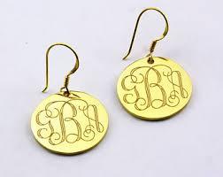 Gold Monogram Earrings Sterling Silver Monogram Earringspersonalized Monogram