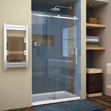48 glass shower door shop dreamline enigma air 44 in to 48 in w frameless brushed